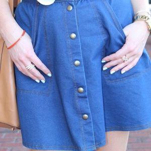 [Topshop] Denim Button Skirt